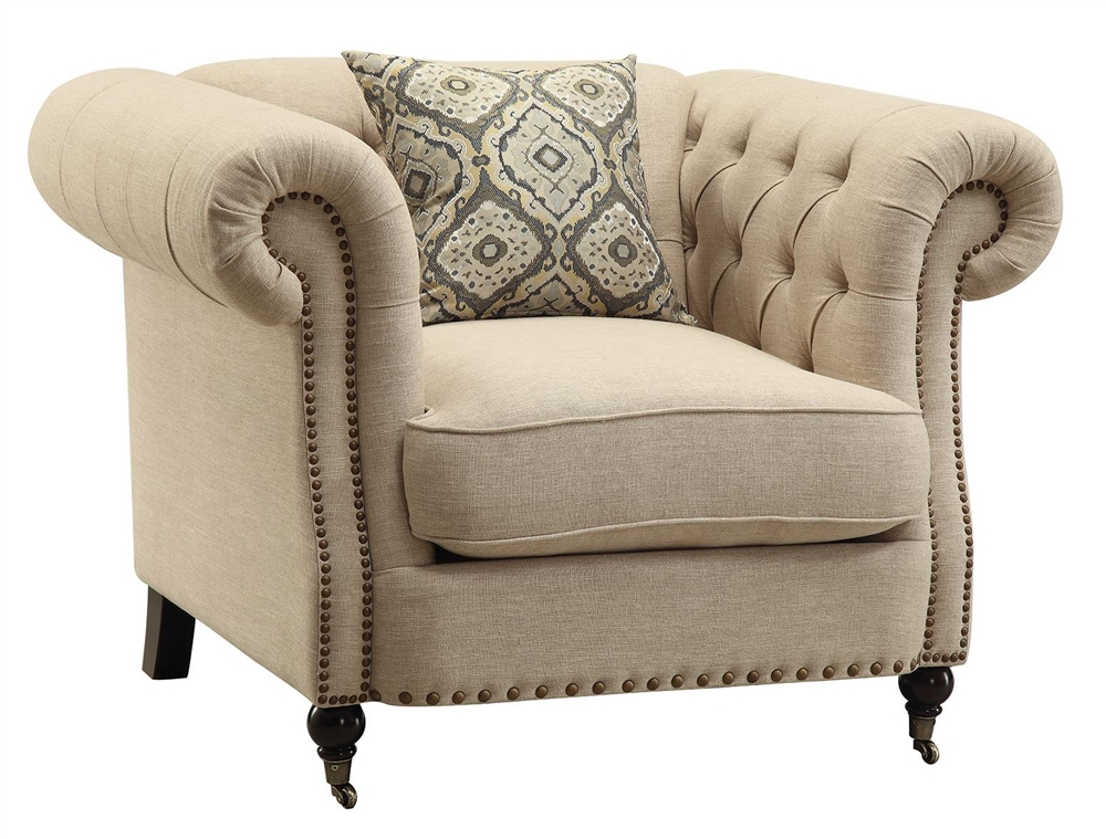 Amari Oatmeal Color Linen Upholstered Chair