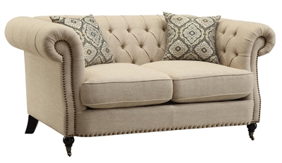 Amari Oatmeal Color Linen Upholstered Loveseat
