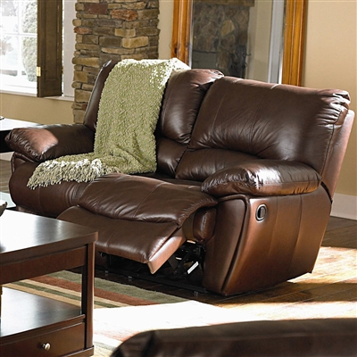 Traditional Brown Full Leather Power Reclining Loveseat