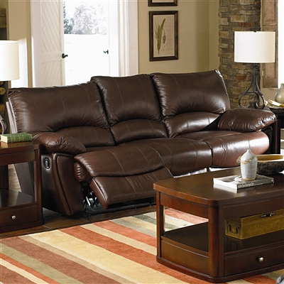 Traditional Brown Full Leather Power Reclining Sofa
