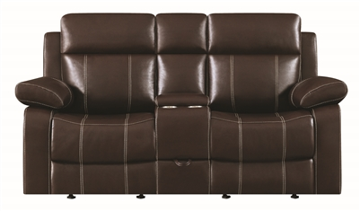 Myla Brown Leather Reclining Loveseat with Baseball Stitching