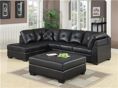 Darleen Black Leatherette Sectional