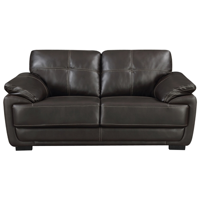 Contemporary Black Leatherette Loveseat
