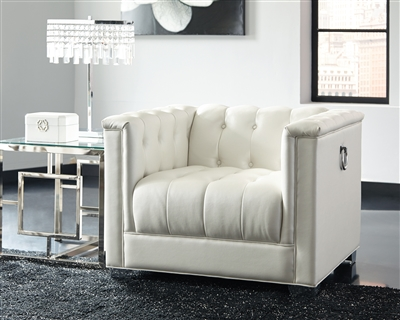 City Modern White Chair with Silver Door Knocker