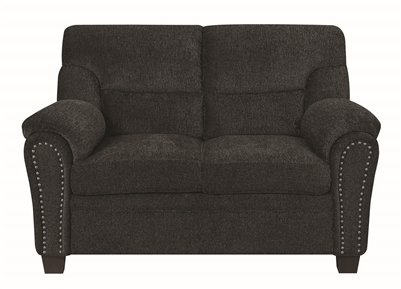 Johann Plush Dark Grey Chenille Loveseat