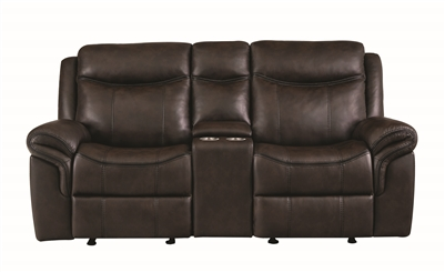Cocoa Brown Leatherette Reclining Loveseat
