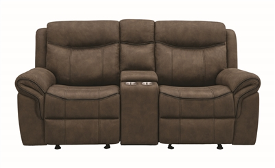 Macchiato Performance Suede Glider Loveseat with Console