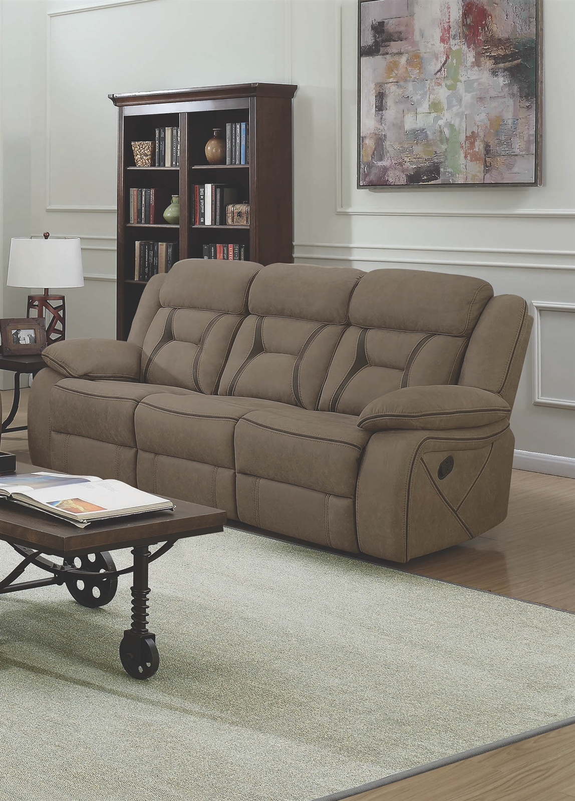 Coated Microfiber Reclining Sofa Larger Photo Email A Friend