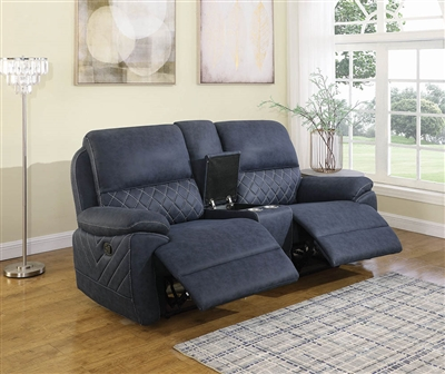 MartZ Blue Performance Faux Suede Reclining Loveseat