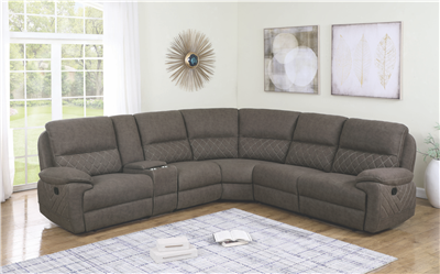 Taupe Suede 6 Piece reclining sectional with white contrast stitching