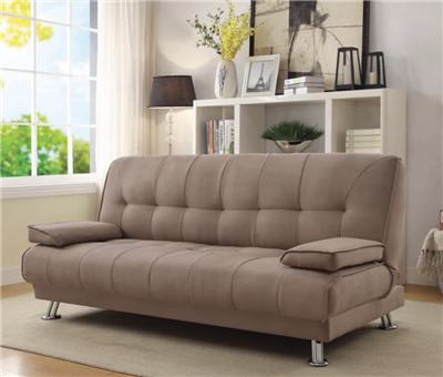 Plush Light Brown Tufted Sofa Bed