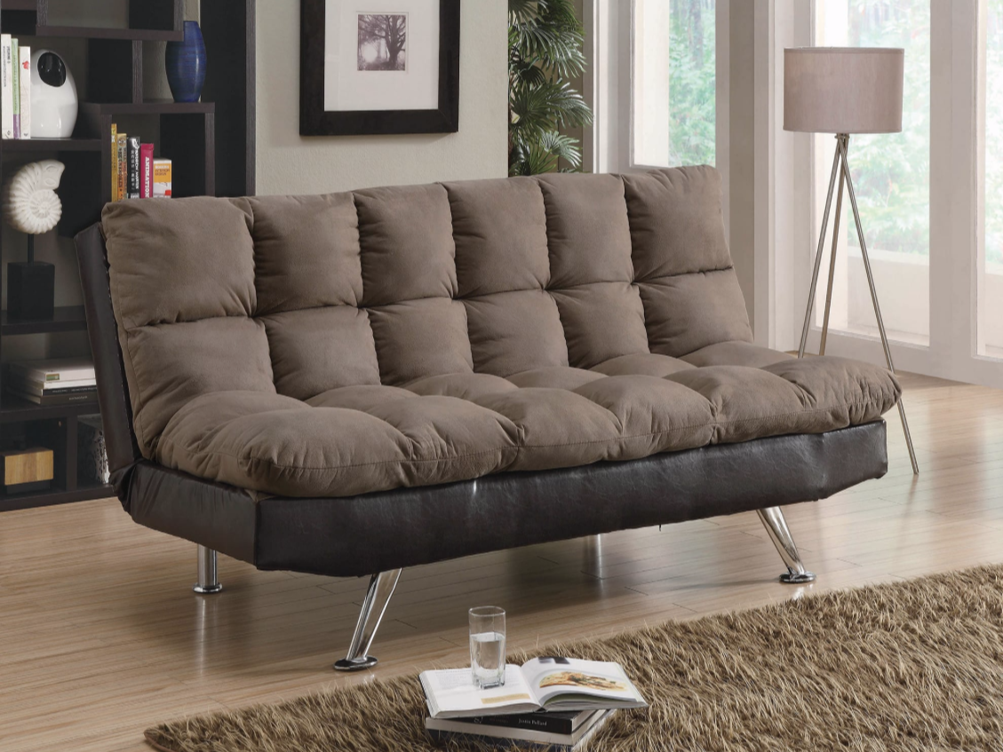 Picture of: Saga 2 Tone Brown Microfiber Tufted Sofa Bed With Chrome Feet