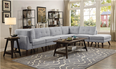 Gray Upholstered Mid-Century Modern Linen Sectional
