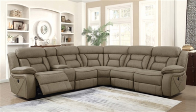 Alton Tan Faux Suede Power Reclining Sectional Sofa