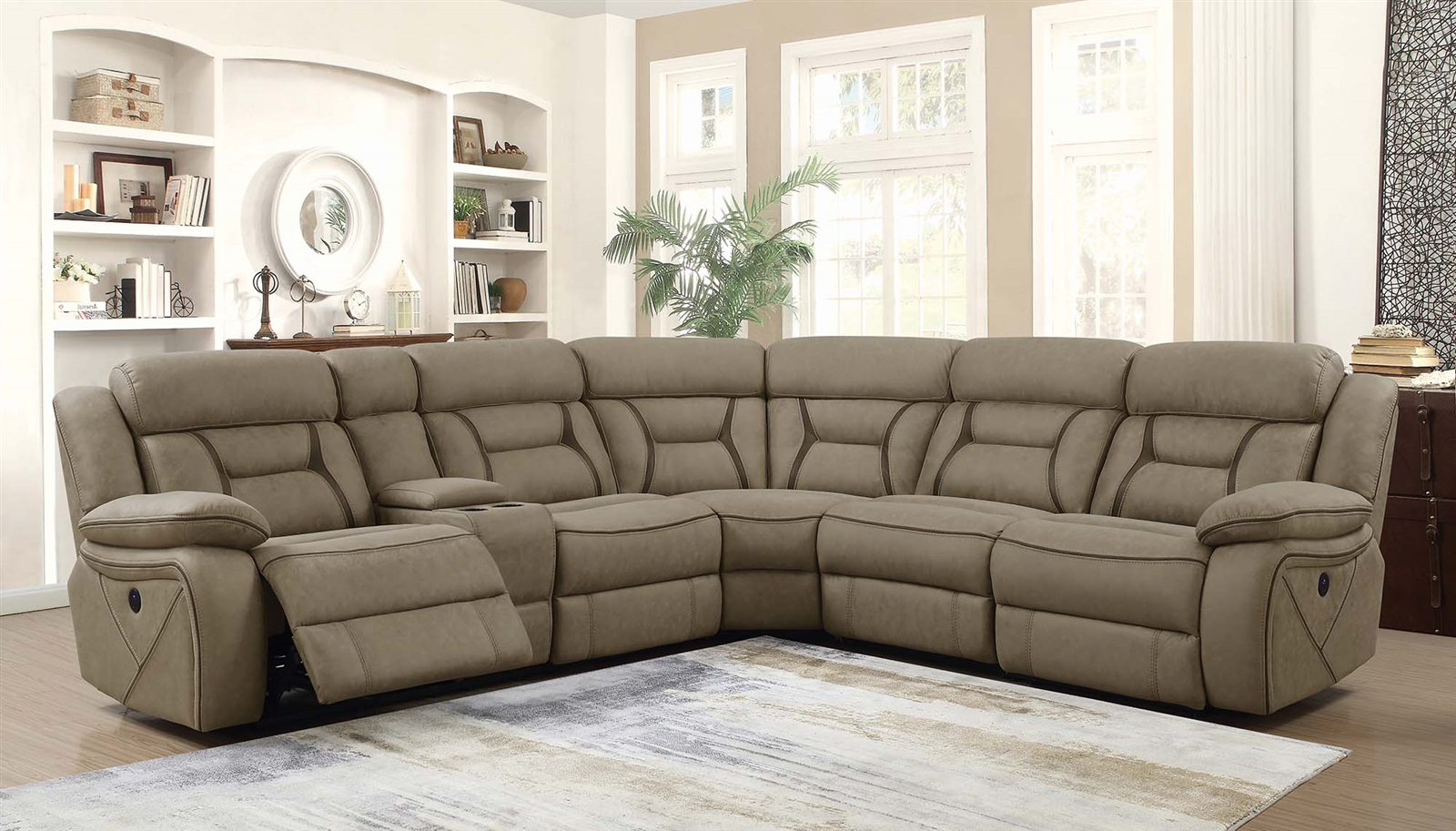 Faux Suede Reclining Sectional Sofa