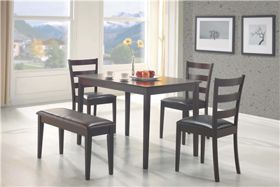 Cappuccino Finish 5 Piece Dining Set With Bench
