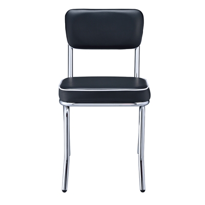Mindy Retro Style Black Leatherette Side Chair with Chrome Legs