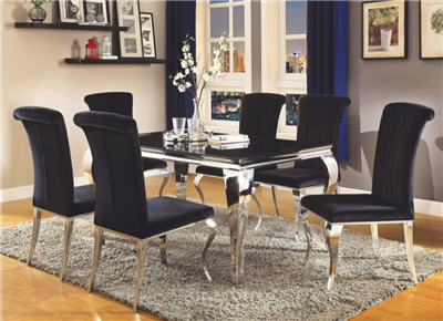 Transitional Black Glass Topped Dining Set With Chrome Cabriole Legs