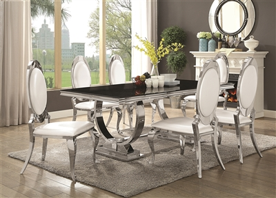 Gorgeous Black Faux Marble Top Dining Set w/ Chrome Base