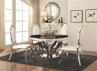 Stunning Contemporary Dining Set with Black Faux Marble Top