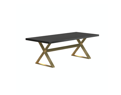 Modern Trestle Dining Table with Gold Base
