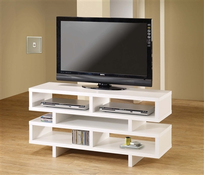 Contemporary Geometric Design White TV Stand 700721