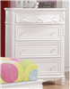 5 Drawer White Finish Princess Style Chest