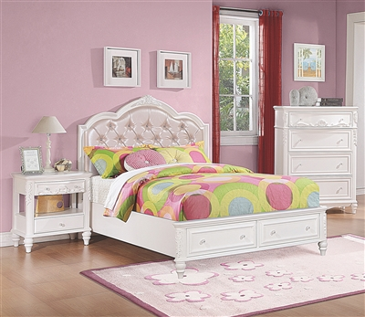 Bright White Finished Wooden Youth Bed with Pink Button Tufted Headboard