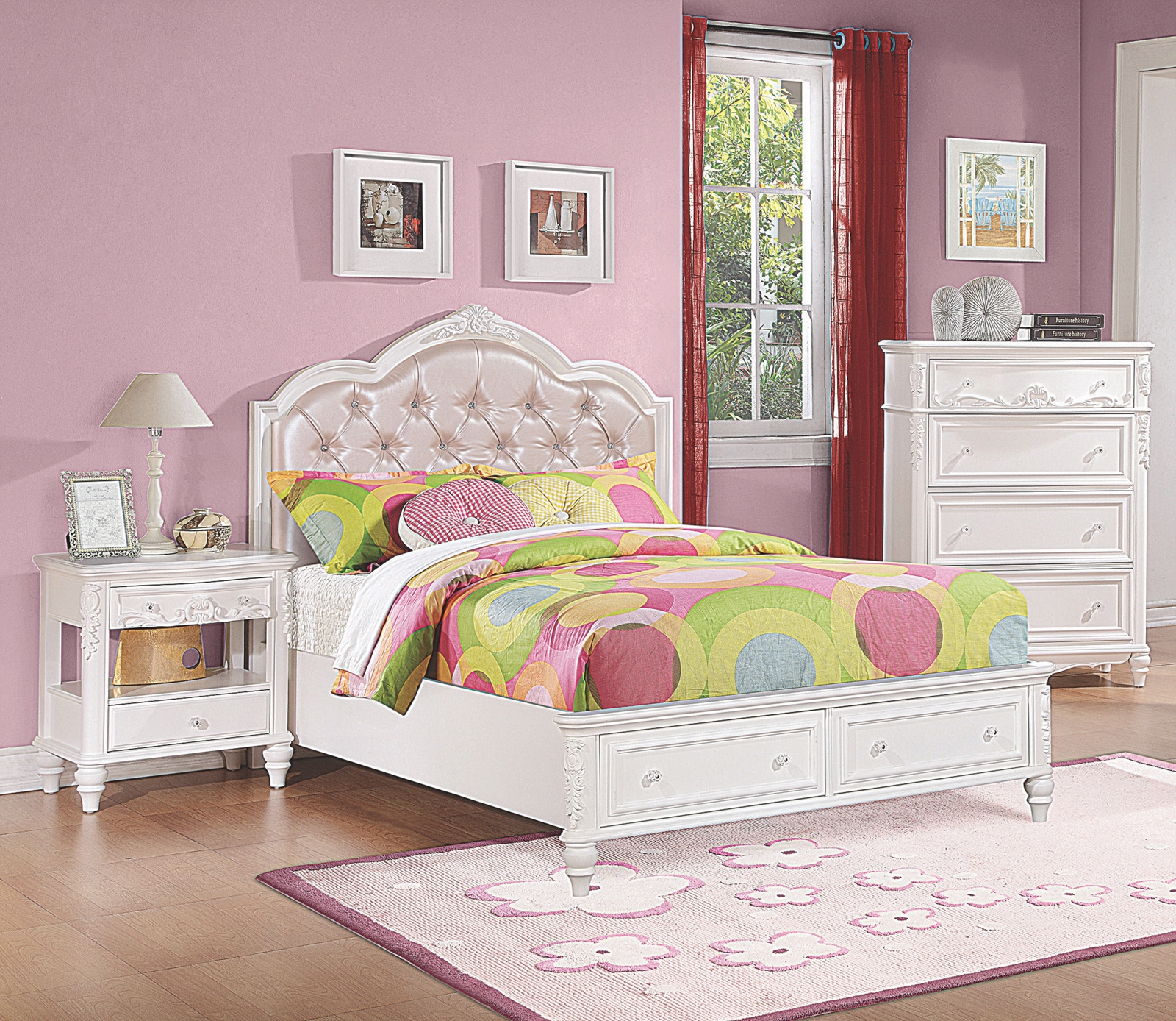 Bright White Wooden Princess Bed With Pink Button Tufted Headboard 2 Storage Drawers In Footboard