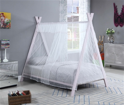 Twin Tent Bed in Light Pink Finish