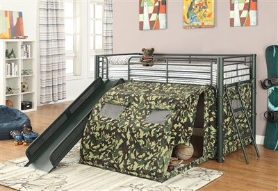 Camouflage Twin Loft Tent Bed with Built in Slide