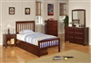 Traditional Style Chestnut Finish Wooden Twin Bed