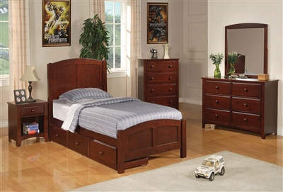 Traditional Chestnut Finish Twin Panel Bed