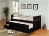 Black Finish Twin Captains Bed