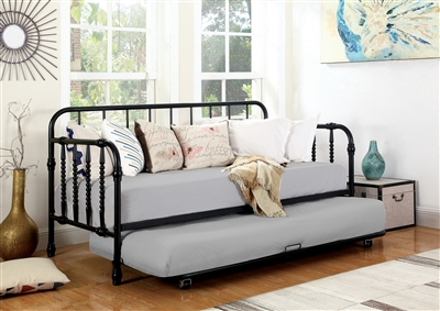 Twin Metal Daybed & Trundle in White Finish With Bobbin Motif 300765