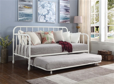 Twin Metal Daybed & Trundle in White Finish With Bobbin Motif 300766