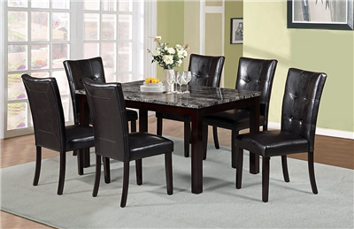 7-Piece Dining Set with Gray Faux Marble Table Top