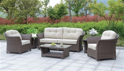 Bowbells 6 Piece Wicker Patio Set w/ Coffee & End Tables