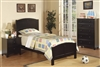 Twin Size Youth Bed in Dark Black Finish