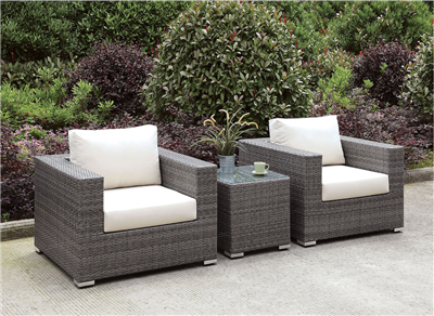 Somani 3 Piece Gray Wicker Patio Chair & Table Set