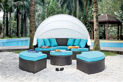 Aria Wicker Patio Canopy Daybed Set with Teal Cushions