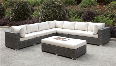 Large Grey Wicker Patio Sectional With Ivory Cushions & Matching Bench