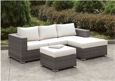 Gray Wicker L Shape Patio Sectional & Ottoman Set