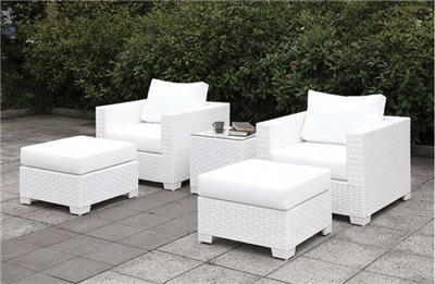 Somani White Wicker 5 Piece Patio Chair & Ottoman