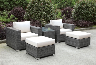 Somani Gray Wicker 5 Piece Patio Chair & Ottoman