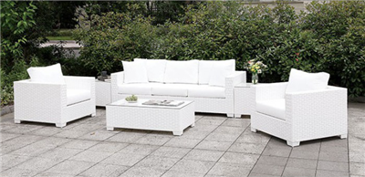 White Wicker 6 Piece Patio Set