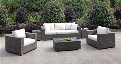Gray Wicker 6 Piece Patio Set