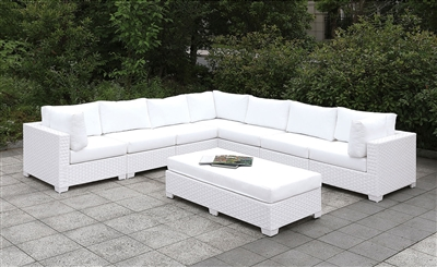 Large White Wicker Patio Sectional With Ivory Cushions & Matching Bench