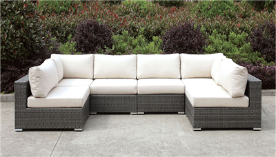 Somani U Shape Gray Wicker Patio Sectional with Ivory Cushions