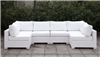 Somani U Shape White Wicker Patio Sectional with Ivory Cushions